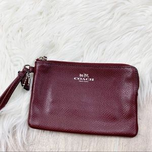 Coach Burgundy Zip Mini Purse Clutch Wristlet